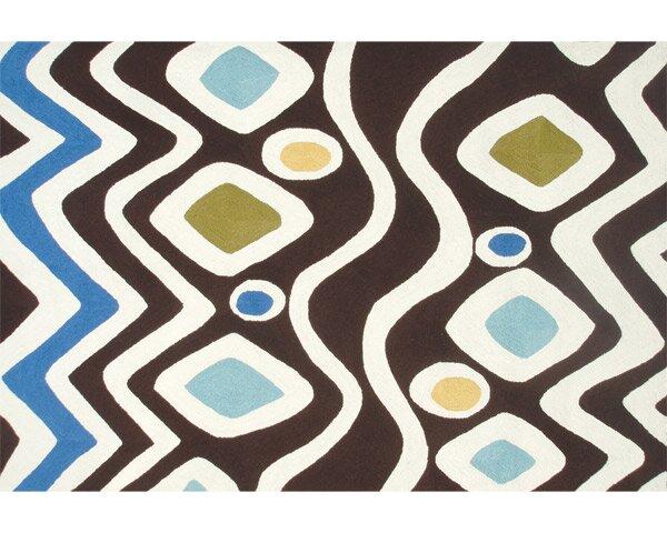 Orson Hand-Hooked Brown/Blue Indoor/Outdoor Area Rug by Threadbind