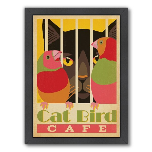 Cat  Bird Cafe Framed Vintage Advertisement by East Urban Home