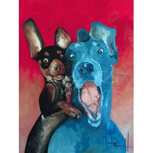 'Smiling Dogs Happy Together - Chuck and Larry' by Sean Parnell Painting Print on Wrapped Canvas by Buy Art For Less