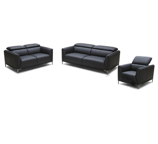 Coalpit Heath Leather 3 Piece Living Room Set by Orren Ellis