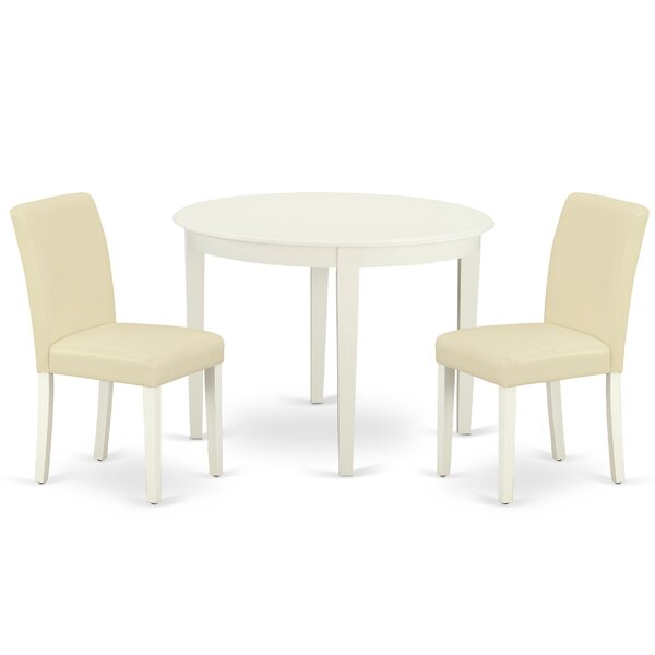 Harpa 3 Piece Solid Wood Dining Set by Highland Dunes