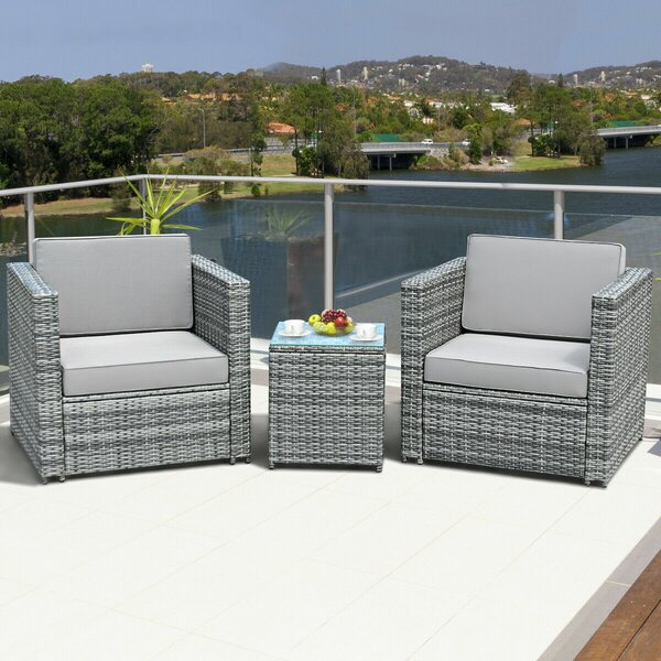 Patio 3 Pieces Rattan Seating Group with Cushions by Ebern Designs
