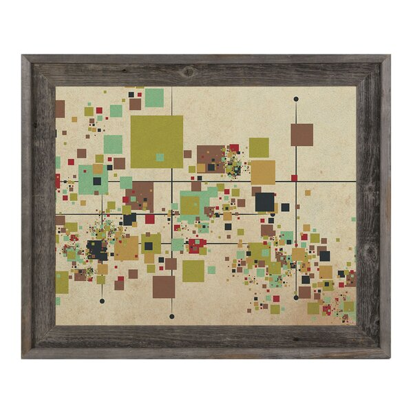 Khaki Pixel Party Framed Graphic Art on Canvas by Click Wall Art