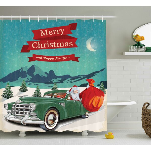 Christmas Santa in Classic Car Shower Curtain by The Holiday Aisle
