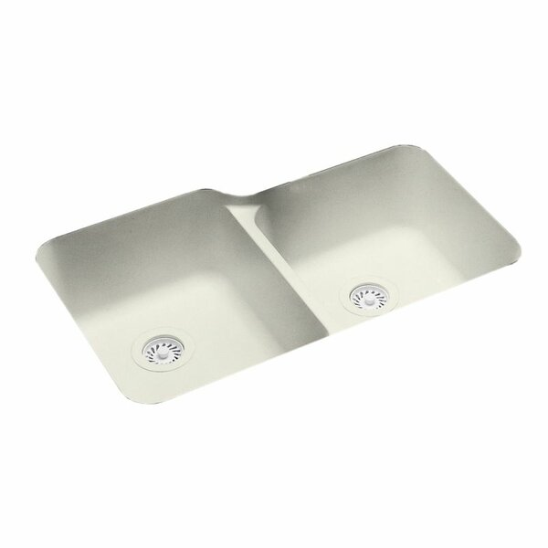 Solid Surface 33 x 21.25 Double Basin Undermount Kitchen Sink by Swan