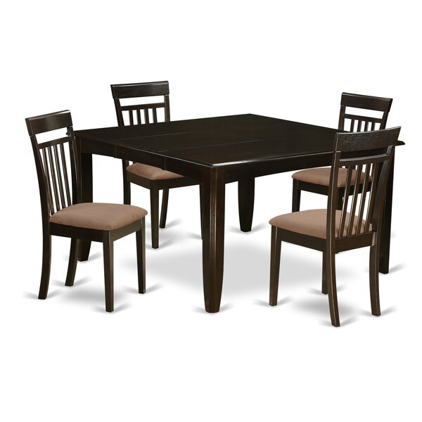 Pilning 5 Piece Extendable Solid Wood Dining Set by August Grove