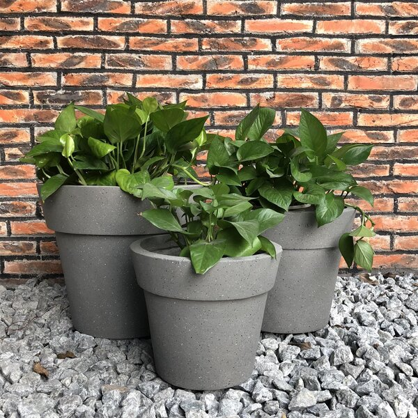 Oswestry Stackable Terrazzo 3-Piece Pot Planter Set by Charlton Home