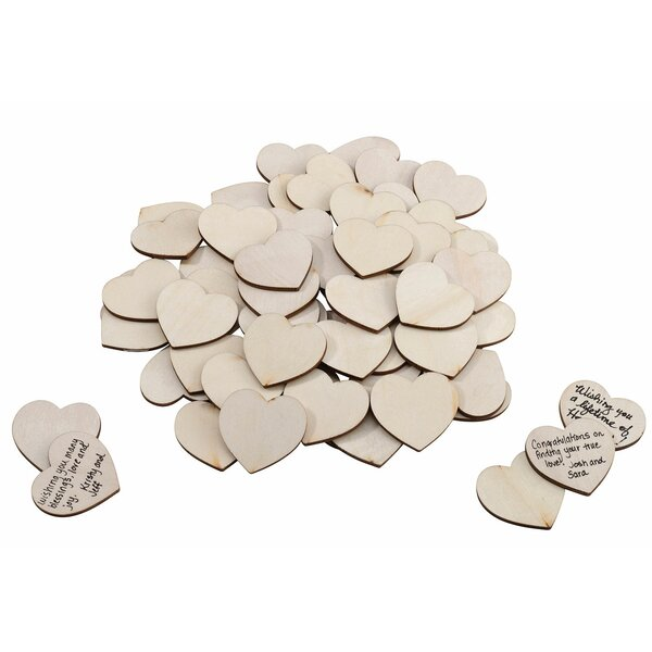 Wooden Signing Hearts (Set of 48) by Lillian Rose