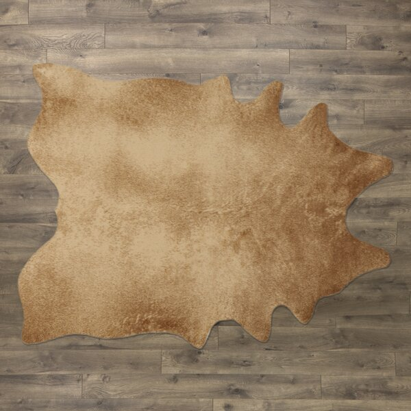 Freya Faux Cowhide Tan Area Rug by Birch Lane™