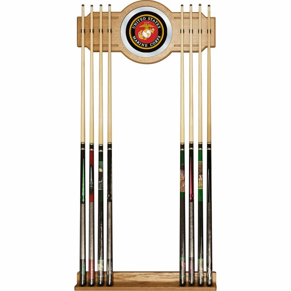 United States Marine Corps Billiard Cue Rack with Mirror by Trademark Global