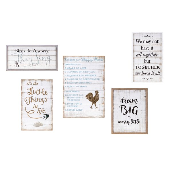 5 Piece Songbird Inspirational Framed Textual Art Set on Wood by Trisha Yearwood Home Collection