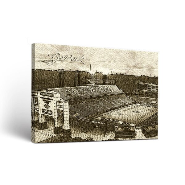 NCAA Sketch Version Framed Graphic Art on Wrapped Canvas by Victory Tailgate