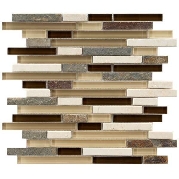 Sierra Random Sized Glass and Natural Stone Mosaic Tile in Cream/Brown by EliteTile