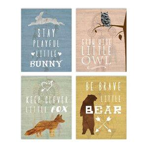 4 Piece Inspirational Animals Paper Print Set by Children Inspire Design