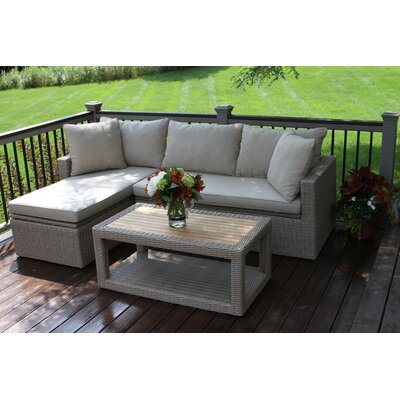Laurel Foundry Modern Farmhouse Teak Sectional Seating Group Cushions Frame Color Cushion Color Seating Groups