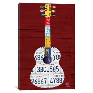 Recycled License Plate Guitar I Art on Wrapped Canvas by Latitude Run