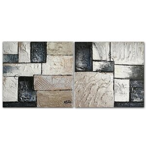 Neutral' 2 Piece Painting on Wrapped Canvas Set by Benjamin Parker Galleries