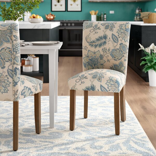 Read Reviews Gaillard Upholstered Parsons Chair in Tan/Blue (Set of 2) by August Grove