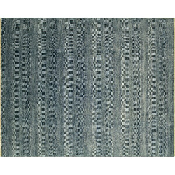 One-of-a-Kind Suellen Grass Hand Knotted Teal Blue Area Rug by Isabelline