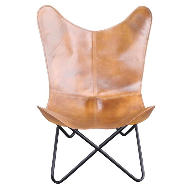 Newburg Natural Leather Butterfly Chair By Williston Forge