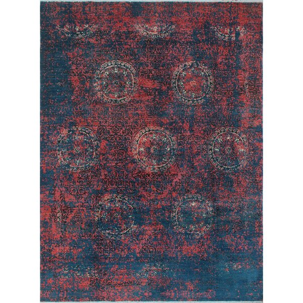 One-of-a-Kind Millman Erase Lori Hand-Knotted Pink/Blue Area Rug by Bloomsbury Market
