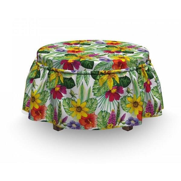 Home & Garden Lily Hibiscus Monstera Ottoman Slipcover (Set Of 2)
