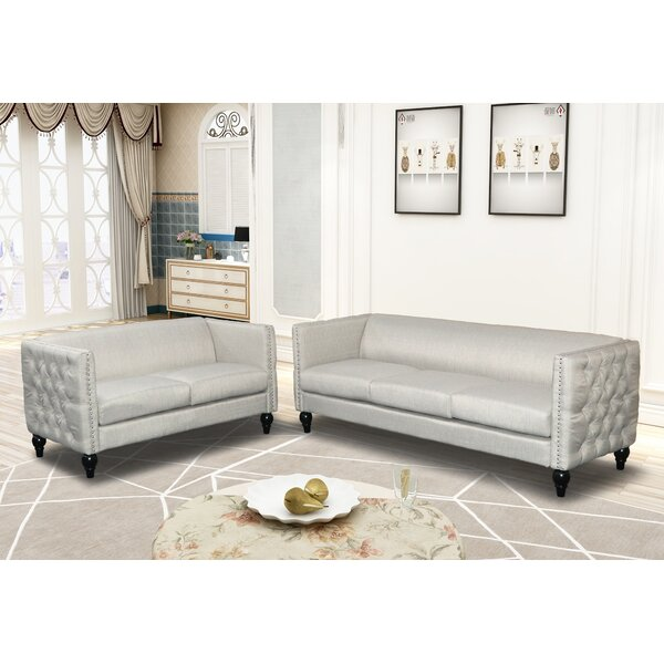Labrecque Modern Nail-head 2 Piece Configurable Living Room Set by House of Hampton