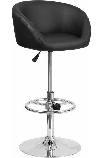 Whelan Round Low Back Adjustable Height Swivel Bar Stool by Orren Ellis