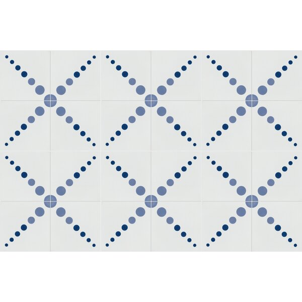 Good Vibrations 8 x 8 Cement Field Tile in White/Blue by Villa Lagoon Tile