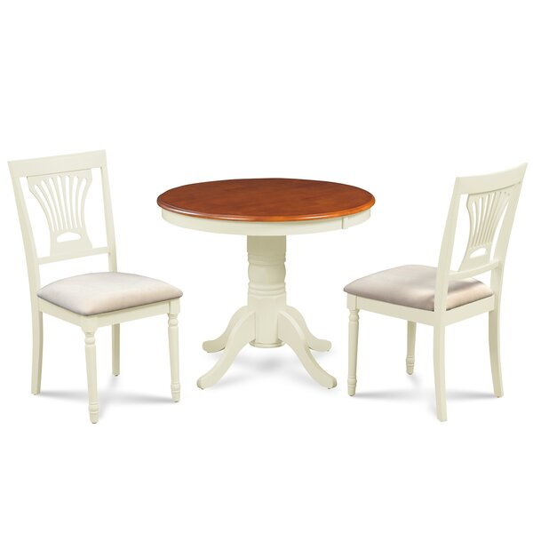 Chesterton 3 Piece Rubber Solid Wood Dining Set by Alcott Hill Alcott Hill