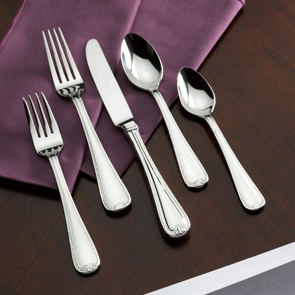 Vintage Jewel Frosted 5 Piece 18/10 Stainless Steel Flatware Set, Service for 1 by Lenox