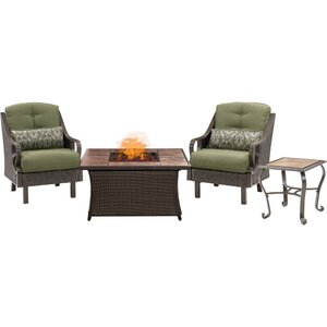 Sherwood 4 piece Fire Pit 2 Person Dark Brown Seating Group with Cushions Three Posts