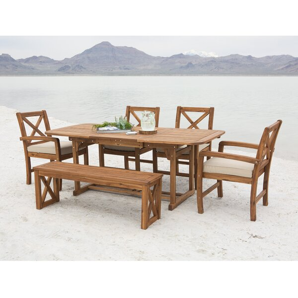 X-Back Acacia Patio 6 Piece Dining Set with Cushions by Birch Lane™