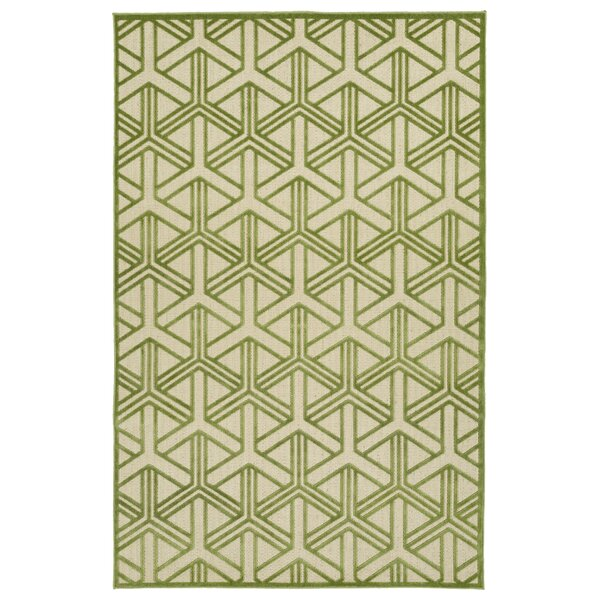 Alterson Green & Cream Indoor/Outdoor Area Rug by Langley Street