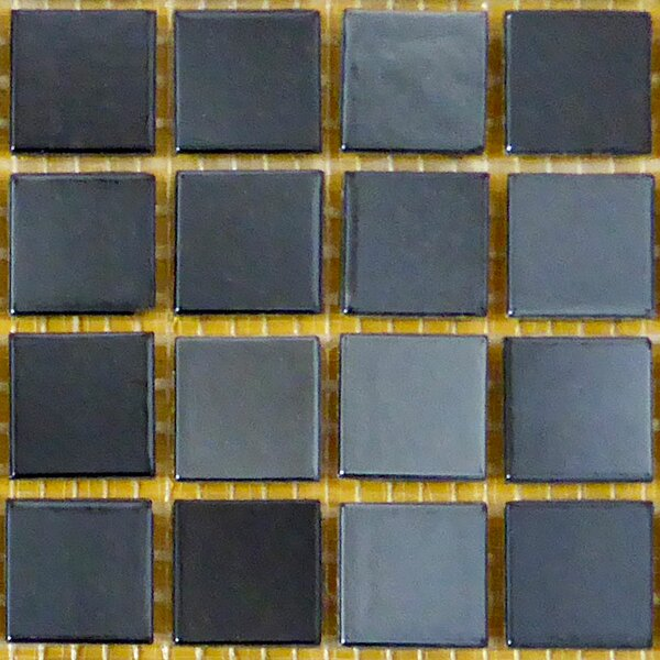 0.75 x 0.75 Glass Mosaic Tile in Black/Gray by Bellaterra Home