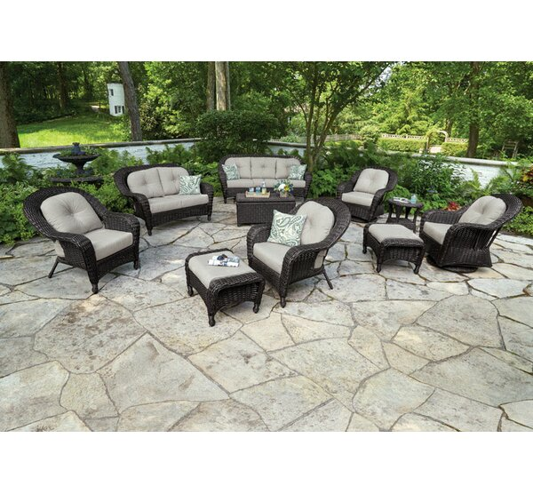 Delancey Aluminum Outdoor Ottoman with Sunbrella Cushion by Bay Isle Home