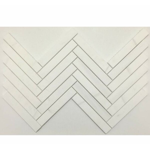 Herringbone Honed 1 x 6 Marble Mosaic Tile in Bianco Dolomite by Ephesus Stones