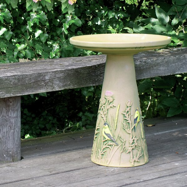 Burley Clay Handpainted Finch Birdbath by Birds Choice