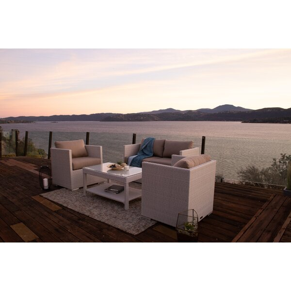 Beulah 4 Piece Sofa Seating Group with Sunbrella Cushions by Highland Dunes
