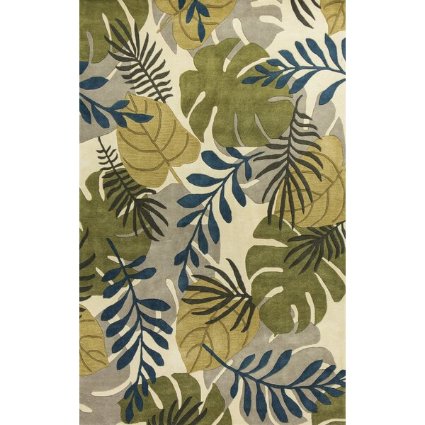 Imala Hand-Tufted Leaves Ivory Wool Area Rug by Beachcrest Home