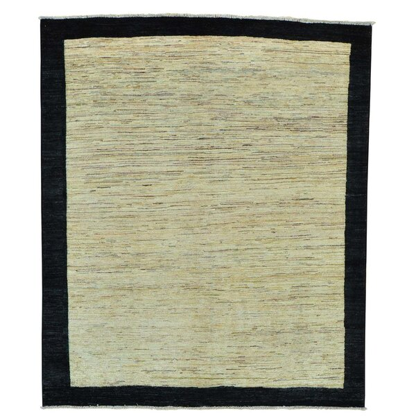 One-of-a-Kind Rossman Striped Hand-Knotted Beige Area Rug by Loon Peak