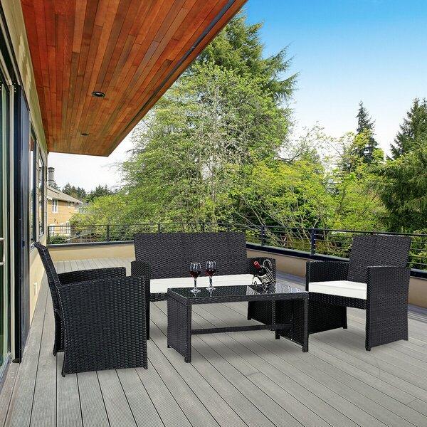 Egemen Patio Garden Rattan Cushioned 4 Piece Sofa Seating Group with Cushions by Latitude Run