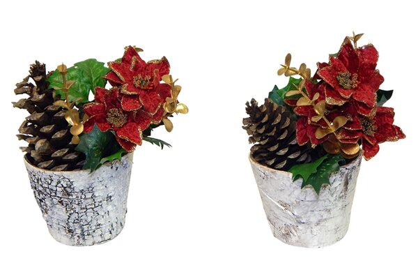 Poinsettia in Pot (Set of 2) by The Holiday Aisle