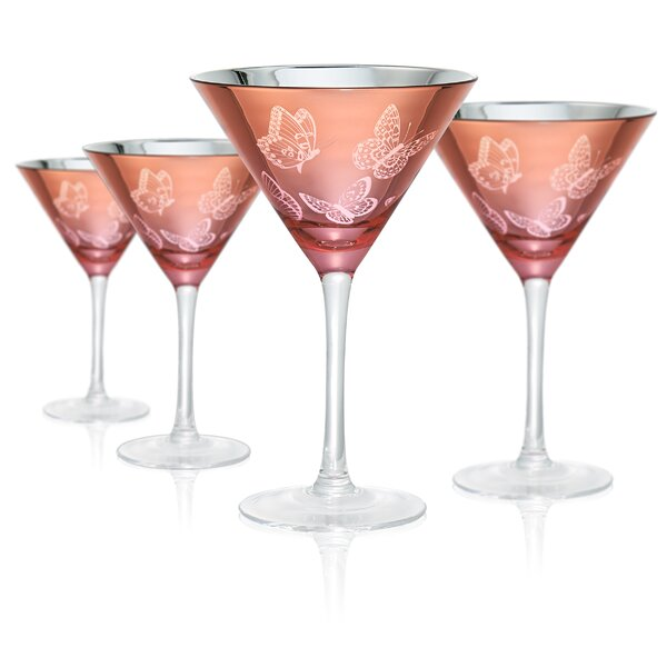 Wilhoite Butterfly Martini 9 Oz. Glass Cocktail Set (Set of 4) by House of Hampton