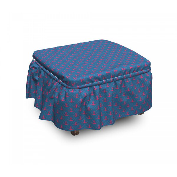 Anchor On Dots 2 Piece Box Cushion Ottoman Slipcover Set By East Urban Home