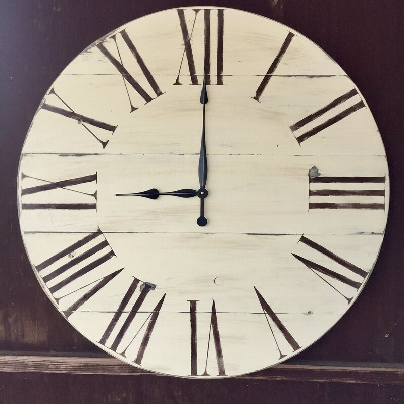 "34"" Vintage Style Painted Wood Wall Clock"