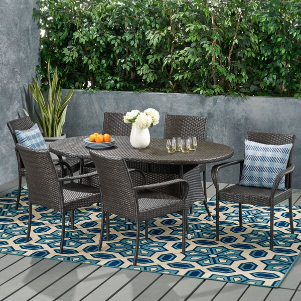 Admiral Contemporary 6 Seater Wicker Dining Set by Wrought Studio