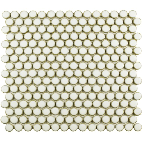 Penny 0.8 x 0.8 Porcelain Mosaic Tile in Snowcap White by EliteTile