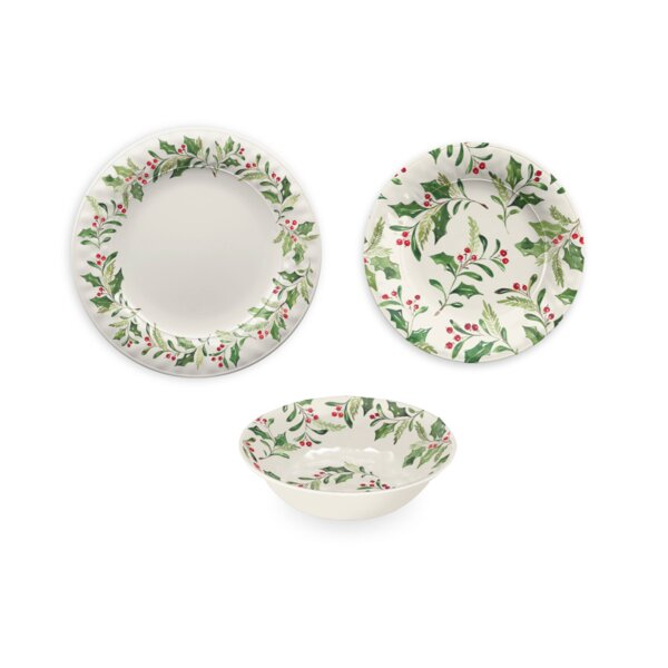 Holly 12 Piece Melamine Dinnerware Set by The Holiday Aisle