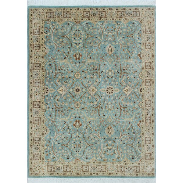 Tabriz Azlan Hand Knotted Wool Light Blue Area Rug by Noori Rug